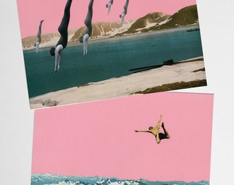 Mountain Postcards, Surreal Art, Retro Stationery - Dive