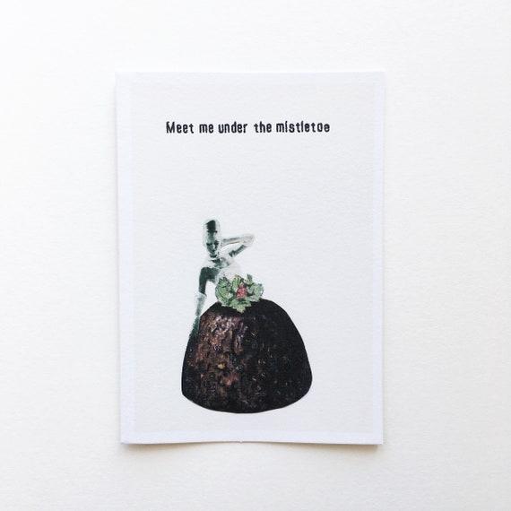 Christmas Pudding Card, Sale Items - Meet Me Under the Mistletoe