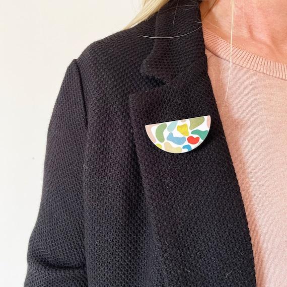 Wood Abstract Shape Badge, Modern Brooch, Colourful Pin