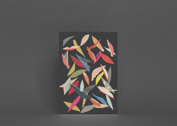 Abstract Leaf Card, Blank Greetings Card, Colorful Art Card - Falling Leaves (Black)