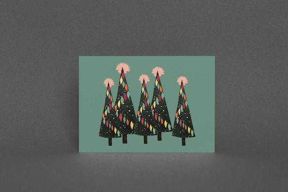 Christmas Card Pack, Blank Greetings Card - Christmas Forest (Green)