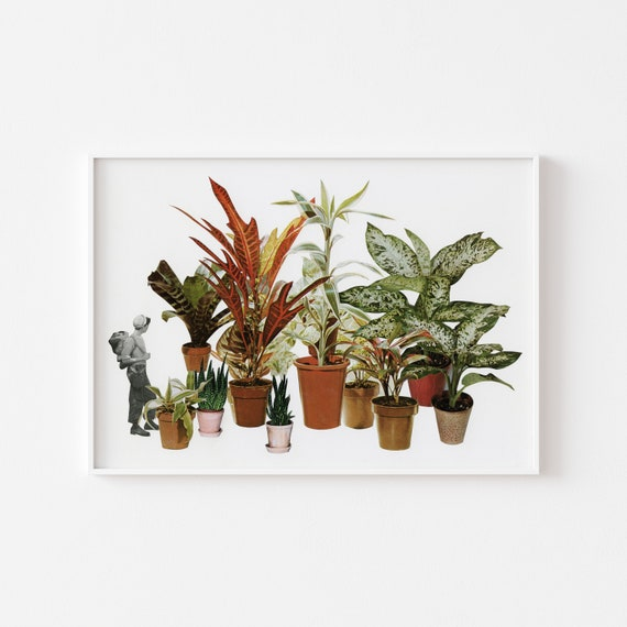 Botanical Print, Surreal Landscape Collage Art - It's a Jungle Out There