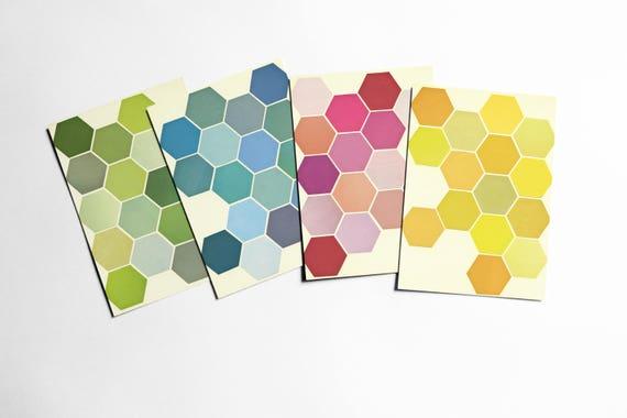 Honeycomb Postcard Set, Modern Stationery - The Honeycomb Set