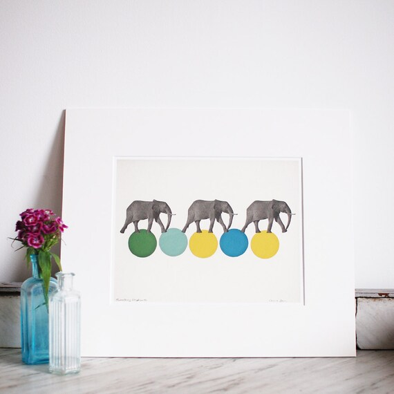 Elephant Nursery Art, Gender Neutral Nursery Decor, Sale Item - Travelling Elephants
