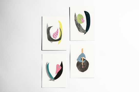 Abstract Postcards Set, Modern Stationery, Stocking Stuffer, Gift Ideas - Abstract Florals