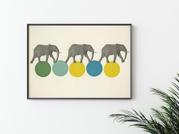 Elephant Wall Art, Circus Print - Travelling Elephants