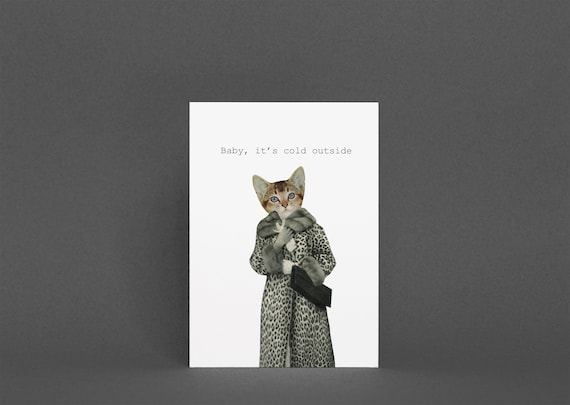 Cat Christmas Card Pack, Anthropomorphic Art - Baby, It's Cold Outside