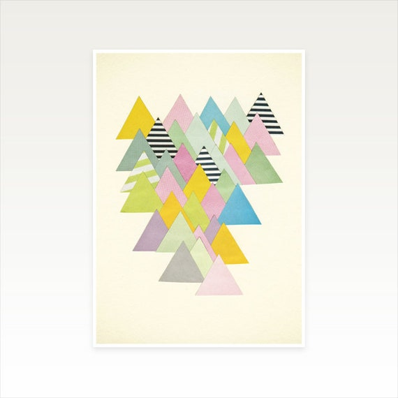 A5 Abstract Mountain Print, Geometric Decor, Clearance Sale - French Alps