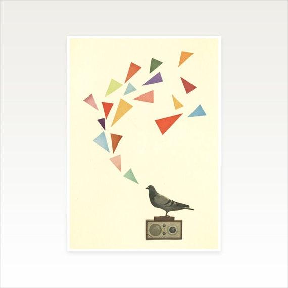 A3 Bird Art Print, Music Decor, Clearance Sale - Pigeon Radio