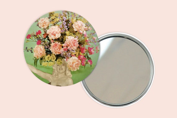 Floral Portrait Pocket Mirror 76mm / 3 inches - Floral Fashions II
