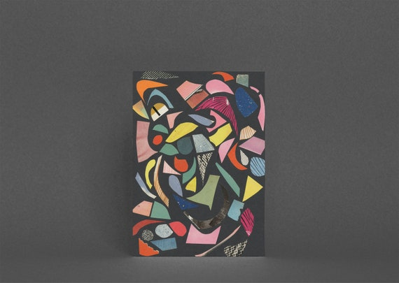 Abstract Card, Blank Greetings Card, Colorful Art Card - Black Terrazzo