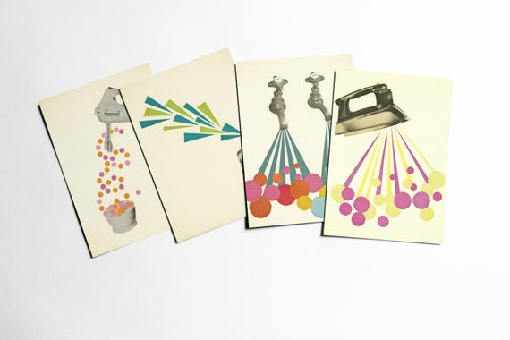 Postcard Set, Housework Cards, Mid Century Art - The Housework is Never Done