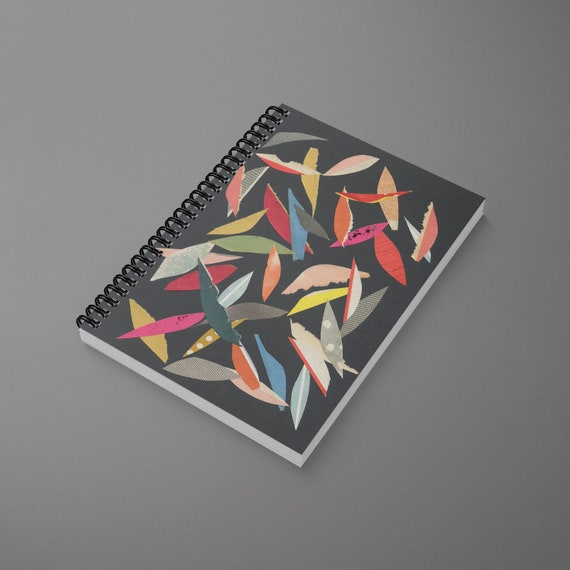 Abstract Leaf Spiral Notebook - Falling Leaves (Black)