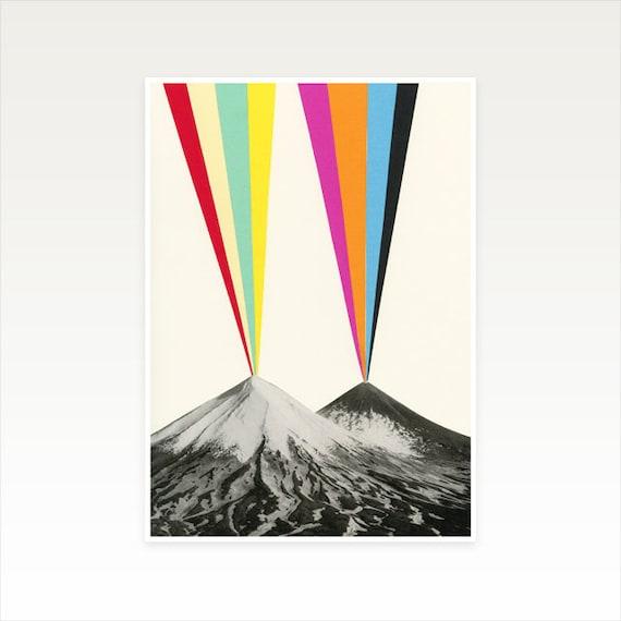 A3 Volcano Print, Rainbow Decor, Clearance Sale - Volcanos