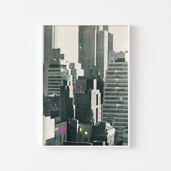 New York Print, Black and White Art, City Art - Discos in New York
