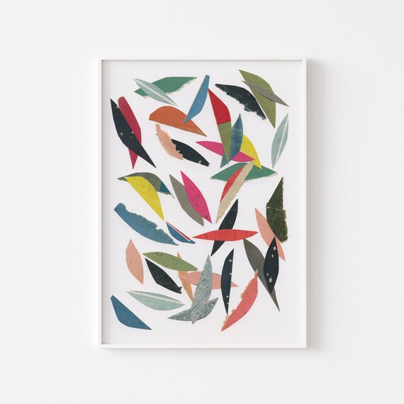 Leaf Print, Abstract Wall Art, Colourful Decor - Falling Leaves (White)