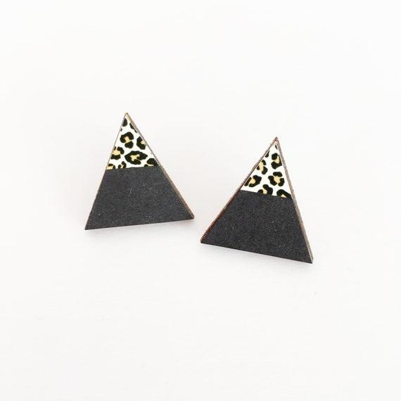 Wood Earrings, Triangle Studs, Black and Leopard Print Earrings, Modern Earrings
