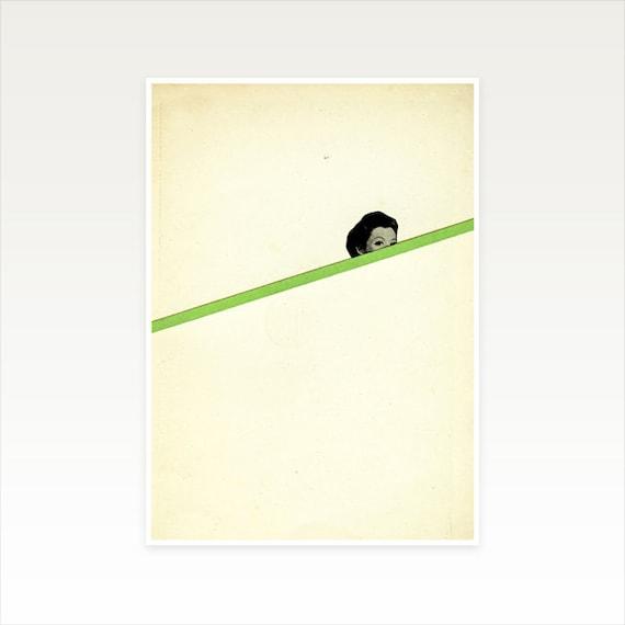 A5 Portrait Art, Minimalist Print, Clearance Sale - Peekaboo