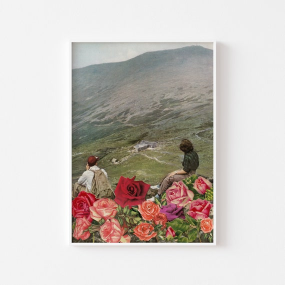 Mountain Art, Hiking Decor, Landscape Print, Surreal Art  - Life is a Bed of Roses