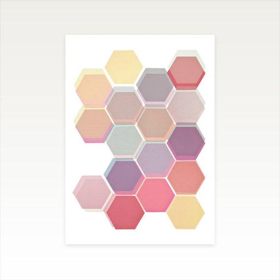 A4 Geometric Pattern Print, Honeycomb Art, Sale Item - Layered Honeycomb 004
