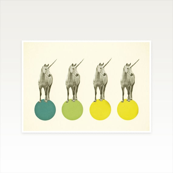 A3 Unicorn Art Print, Nursery Wall Art, Clearance Sale - Unicorn Parade