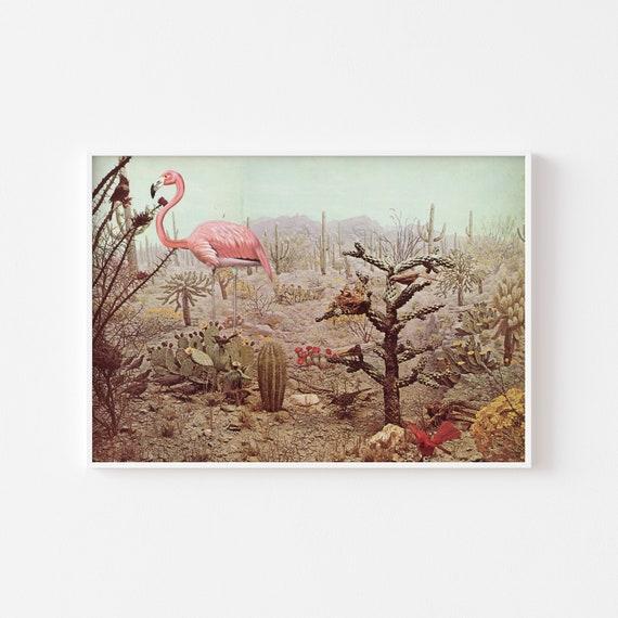 Flamingo Print, Maximalist Decor, Bird Wall Art, Pink and Green Decor - Wild Flamingo