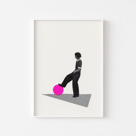 Female Portrait Print, Feminist Art - Ball Control