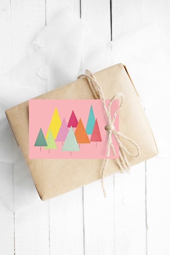 Christmas Hang Tags With String, Set of 12 Gift Tags - Fir Trees (Pink)