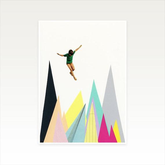 A3 Mountain Print, Colourful Wall Art, Sale Items - Mountain Jump