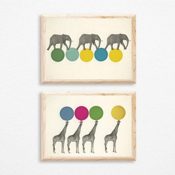 Animal Print Set, Zoo Wall Art, Circus Nursery Prints - Circus Animals