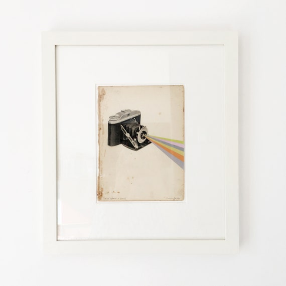 Framed Original Collage, Camera Art - It's a Colourful World