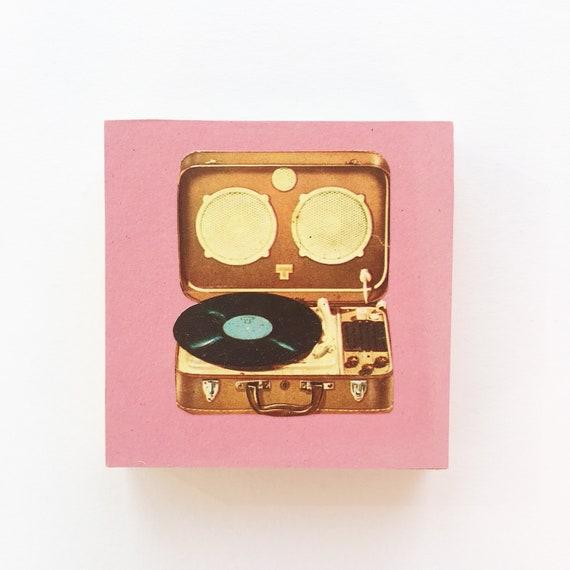 Wood Art, Vinyl Record Art, Music Room Decor, Music Lover Gift - Record Player