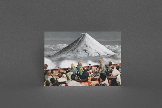 Art Greeting Card, Volcano Cards, Surreal Art, Blank Greetings Card - Prime Location