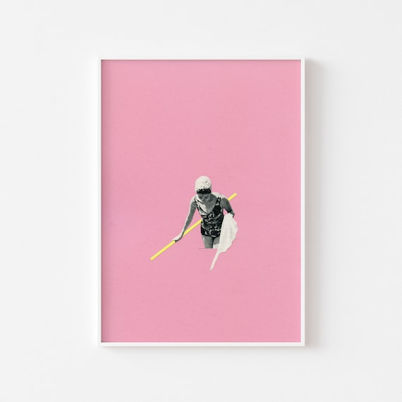 Swimming Pool Art, Female Portrait, Pink Wall Art - Evening Swim