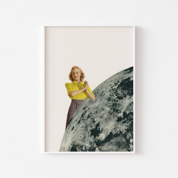 Moon Print, Female Portrait, Romantic Gifts for Her, Romantic Wall Art, Yellow and Grey Wall Decor - He Gave Her the Moon
