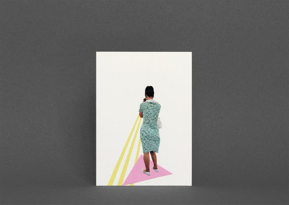 Female Portrait Card, Blank Greetings Card - The Photographer