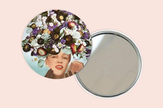 Flower Portrait Pocket Mirror 76mm / 3 inches - Floral Fashions III