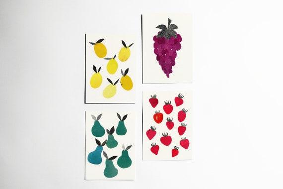 Fruit Postcard Set, Modern Stationery, Kitchen Decor, Gift Ideas - Fruity