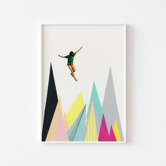 Mountain Wall Art, Abstract Landscape Print, Office Decor - Mountain Jump