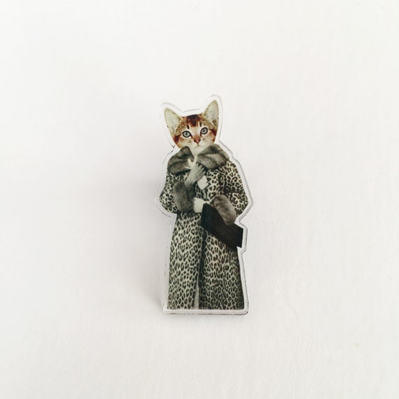 Cat Acrylic Pin Badge, Stocking Stuffer - Kitten Dressed as Cat