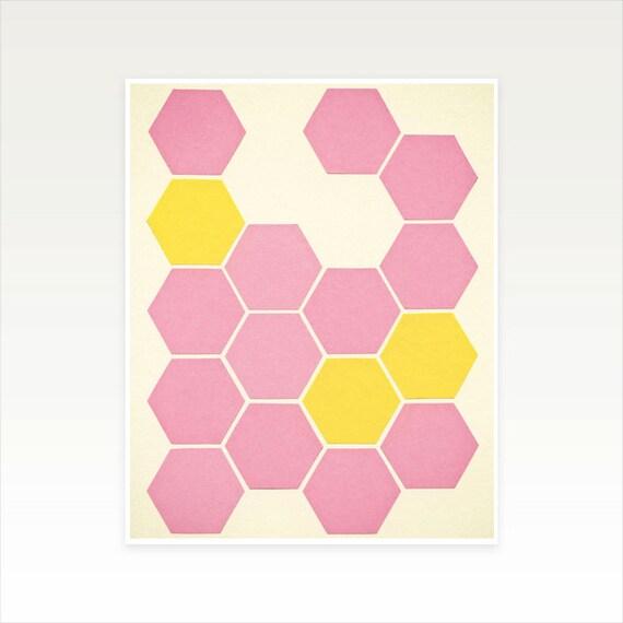 8x10 Inch Honeycomb Print, Modern Art, Sale Item - Pink Honeycomb