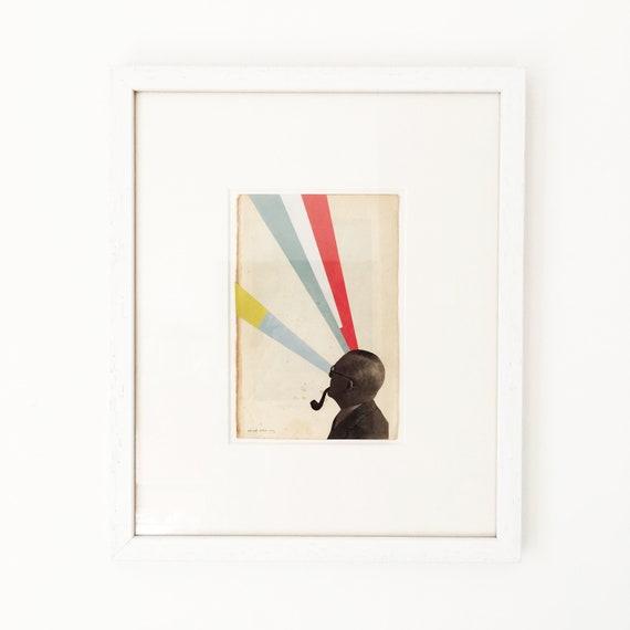Framed Original Artwork, Male Portrait Collage - Mind Altering