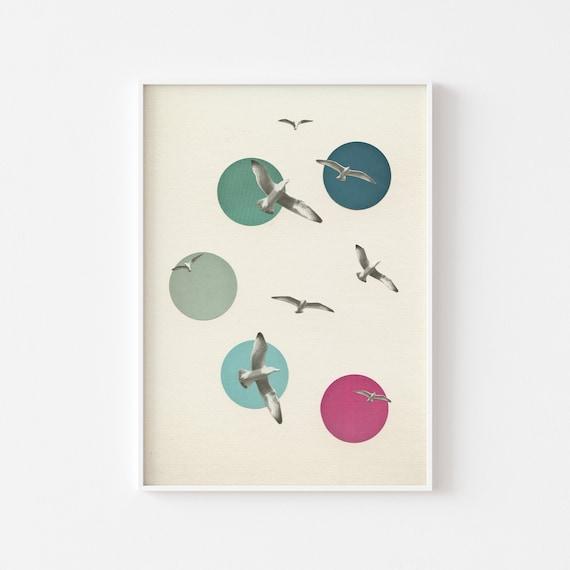 Bird Print, Coastal Decor, Bathroom Wall Art - Circling