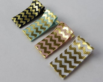 Baby Hair Clips for Fine Hair Clips Set Child Hair Barrettes Baby Ribbon Hair Clip Gold Chevron Hair Clip Gold Stripes Gold Hair Bow Toddler