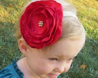 Red Hair Flower Large Flower Headband Toddler Baby Girl Red Headband Baby Flower Headband Red Flower Headband Girls Baby Red Headband
