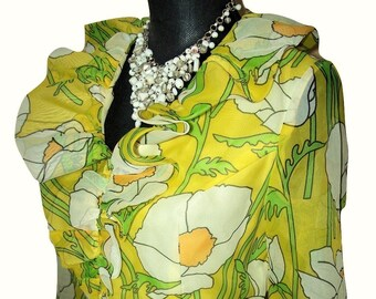 Vintage 1970s California Calliope Full Length Chiffon Floral Mod Dress