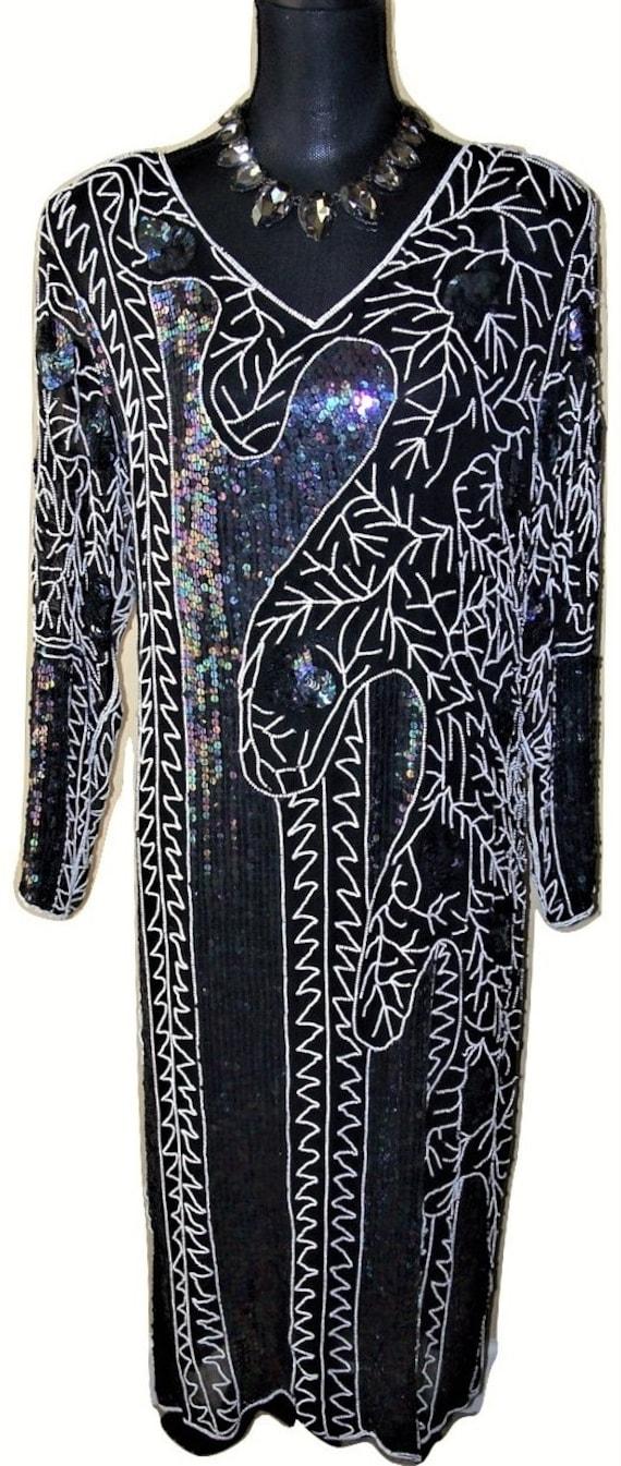 Vtg 1980s Black Silk Chiffon Sequin/Beaded Dress S