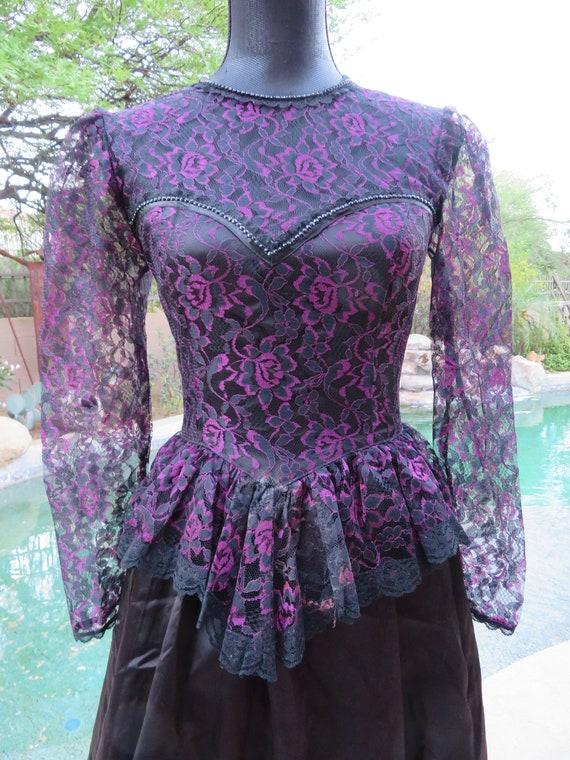 Vtg. 1980s Gunne Sax Black & Pink Prom Dress Size