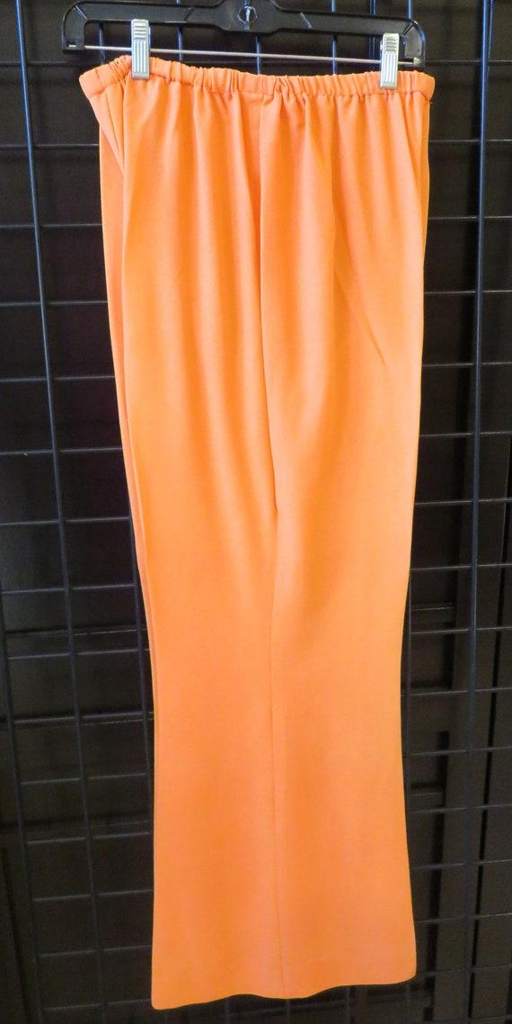 Vintage 1960s Orange Matching Pant Top Set Size 18 - image 5