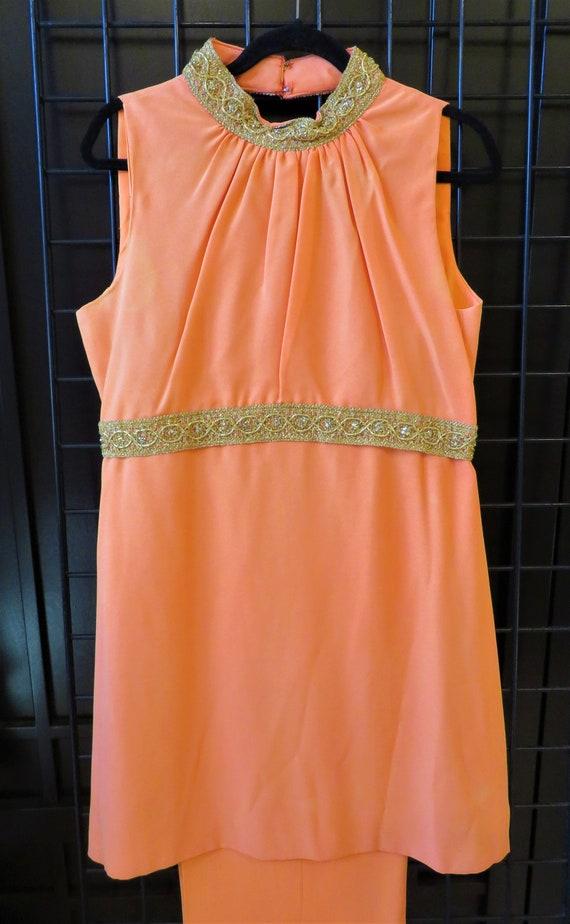 Vintage 1960s Orange Matching Pant Top Set Size 18